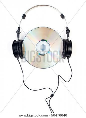 Headphones with CD on white background