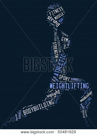 Weighlifting Pictogram With Blue Wordings
