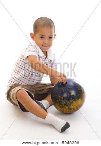 Cute Boy With Bowling Ball