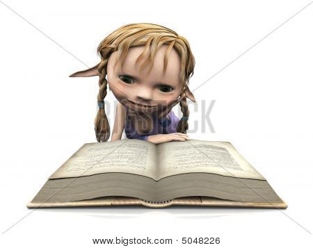 Cute Cartoon Girl Reading Book.
