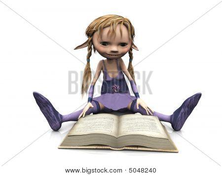 cute Cartoon Mädchen Lesebuch.