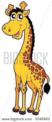 Cute cartoon giraffe on white background - vector illustration. poster