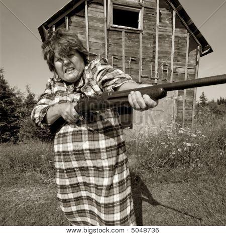Angry Woman With Big Gun