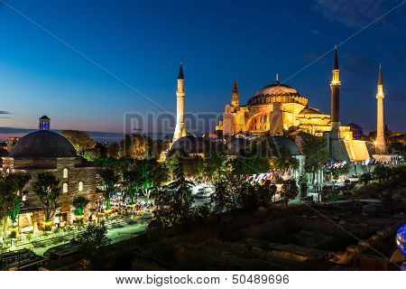 Hagia Sophia In Istanbul Turkey At Night