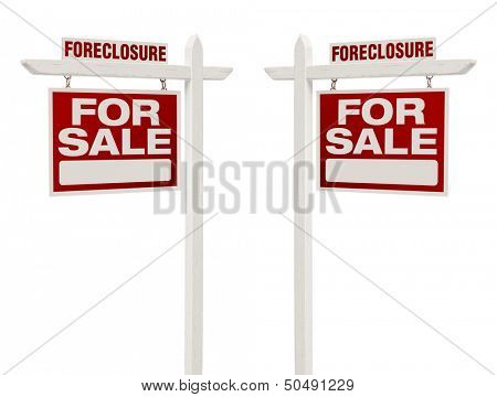 Pair of Left and Right Facing Foreclosure For Sale Real Estate Signs With Clipping Path Isolated on White.