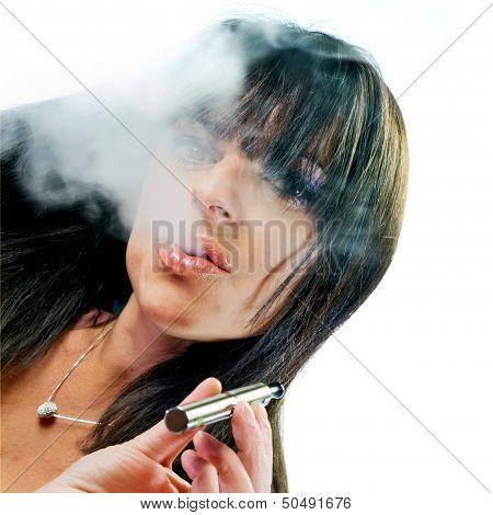 Brunette   Girl Smoking Electronic Cigarette