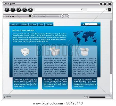 Metallic Web Browser Design With Webpage