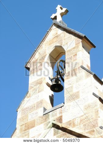 Bell Tower On Old Stone Church In Brisbane Queensland Australia