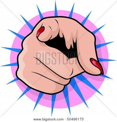 Vintage Pop Art Female Pointing Hand