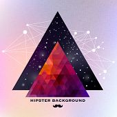Hipster background made of triangles and space background poster