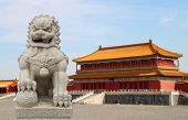 Chinese Imperial Lion Statue with Palace Forbidden city (Beijing China) background poster