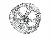 Wire model of a cast automobile disk poster
