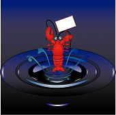 Lobster jumping out of water illustration holding a sign for your text for example : Eat snails not Lobsters! poster