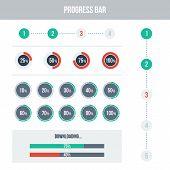 Flat UI design elements set - different progress bars. Vector illustration. Light colors. poster