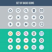Flat UI design elements - set of basic web icons two different color schemes. Vector illustration. poster