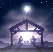 Christmas Christian nativity scene with baby Jesus in the manger in silhouette and star of Bethlehem poster