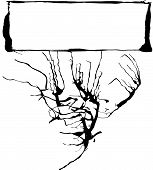 Abstract expressionist banner space with spilled ink designs. Space for text. poster