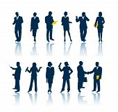 business people 12 silhouettes poster