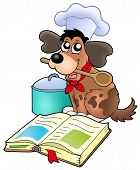 Cartoon dog chef with recipe book - color illustration. poster