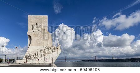 Padrao dos Descobrimentos (Sea Discoveries Monument) and a view of the Tagus River and the 25 de Abril Bridge. Belem District of Lisbon, Portugal