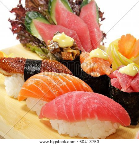 Japanese Cuisine - Sushi Set: Salmon, Conger and Tuna Sushi with Salad Leaf