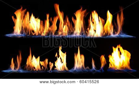Fire on black background