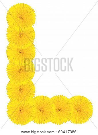 Letter L Made From Dandelions