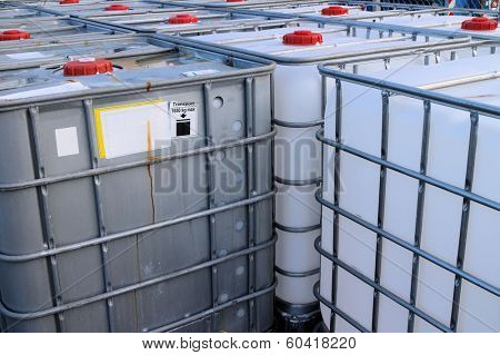 IBC Container close-up view of chemical tanks  poster