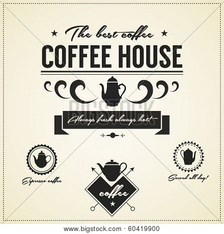 Vintage  Coffee House Labels And Icons
