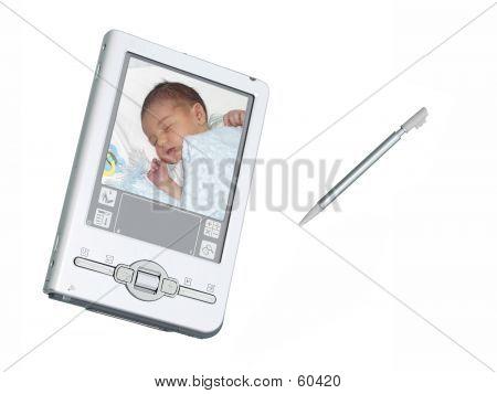 Digital PDA Camera & Stylus Over White