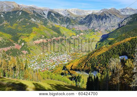 Colourful Mountains And Vew Of Telluride, Colorado During Foliage Season