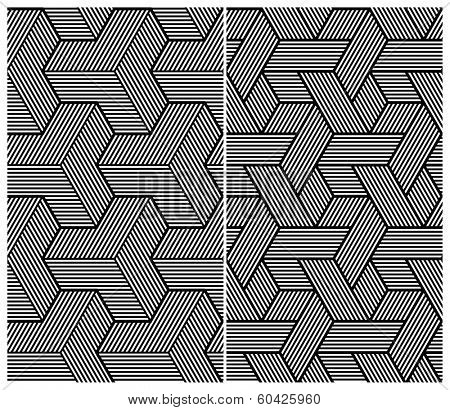 Set of Two B&W Seamless Patterns. Abstract Elements. Rasterized Version