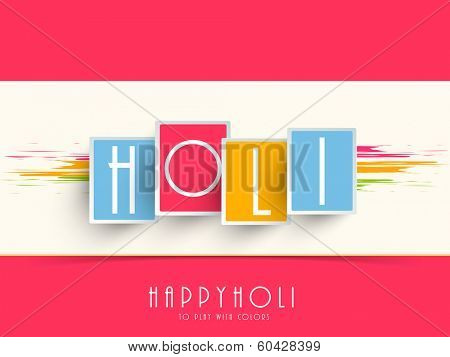 Beautiful stylish text Holi on pink and colourful background, concept for Indian colour festival Happy Holi.