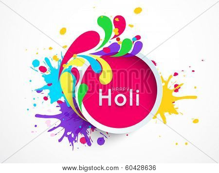 Indian festival Happy Holi celebrations sticky decorated by beautiful colourful floral design and splash on grey background, can be use as sticker, tag or label.