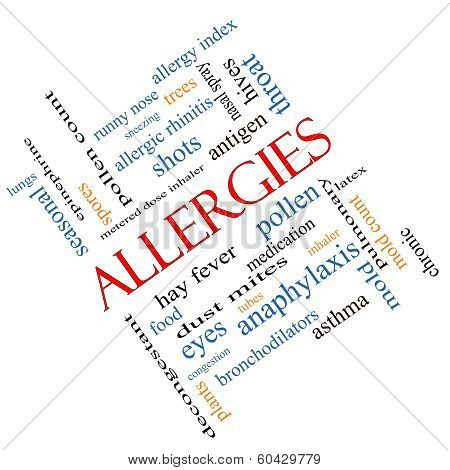 Allergies Word Cloud Concept Angled