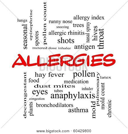 Allergies Word Cloud Concept In Red Caps