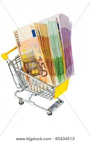 euro bank notes in a shopping cart icon photo for purchasing power, shopping, money printing and inflation