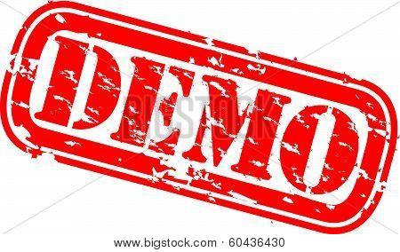 Grunge demo rubber stamp, vector illustration