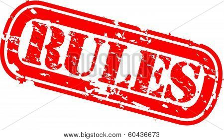 Rules grunge rubber stamp, vector illustration