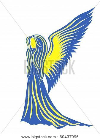 Female Angel In Yellow And Blue Symbolize The Ukraine