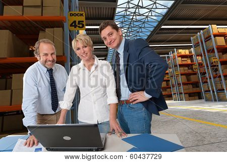 Business team in a transportation warehouse