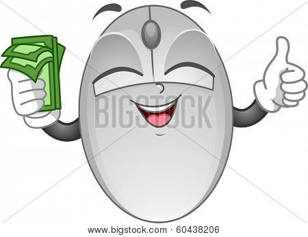 Mascot Illustration Featuring a Computer Mouse Holding Cash in One Hand and Doing a Thumbs Up with the Other poster
