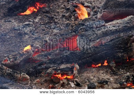 Ashes, live coals and flame of big bonfire poster
