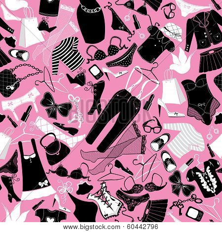Seamless pattern for fashion Design - Silhouettes of glamor clothes and accessories - Black and white images on pink background poster