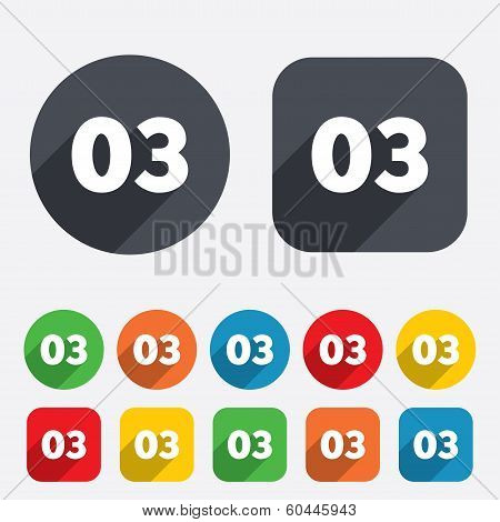 Third step sign. Loading process symbol. Step three. Circles and rounded squares 12 buttons. Vector poster