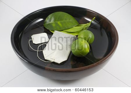 green tea and citrus fruit stock photo