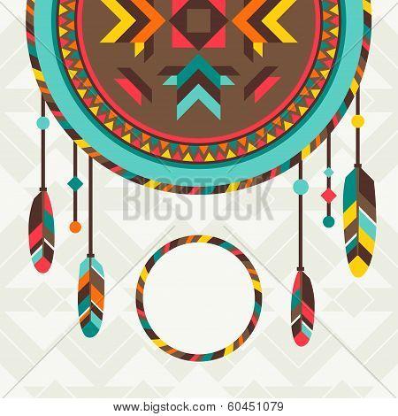 Ethnic background with dreamcatcher in navajo design.