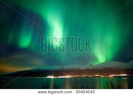 Green Aurora Borealis Dancing In The Sky
