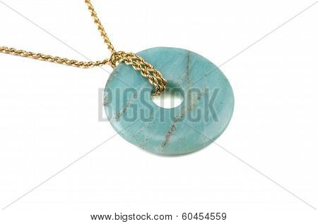 Amazonite Donut On Golden Chain