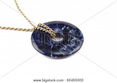 Sodalite Stone Donut On Golden Chain